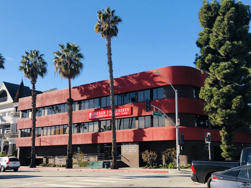 Exterior shot of the Yo San University Building on Washington Blvd in Los Angeles California